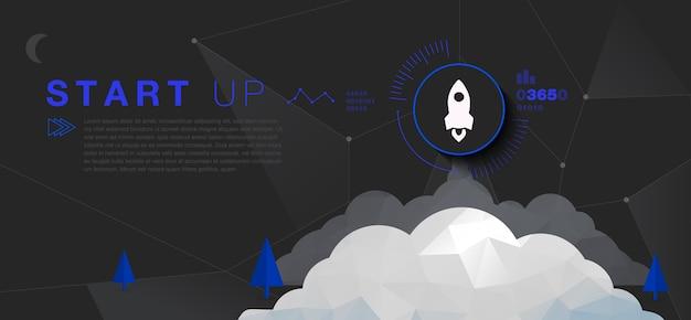 Start raket met technische infographic 's nachts