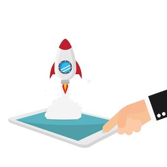 Start raket of ruimtevaartuig over de mobiele telefoon