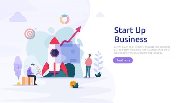 Start service of lancering van een nieuw productidee. project business met raket kleine mensen karakter. sjabloon voor web-bestemmingspagina, banner, presentatie, sociaal, gedrukte media. illustratie
