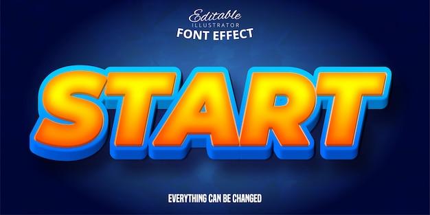 Start tekst, 3d bewerkbaar lettertype-effect