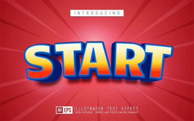 Start teksteffect, bewerkbare driedimensionale tekststijl