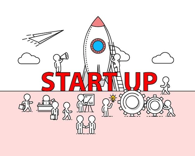 Start tekstwerkkantoor met mensen. vector illustratie