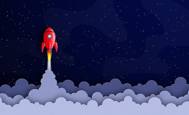 Start-up bedrijfsconcept ruimteschip vliegt in de sterrenhemel tussen sterren en planeten