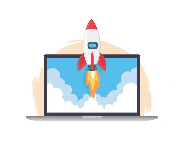 Start-up lancering. de ruimteraket vliegt omhoog van het vlakke stijlontwerp van het laptopscherm. nieuw succesvol zakelijk projectconcept.