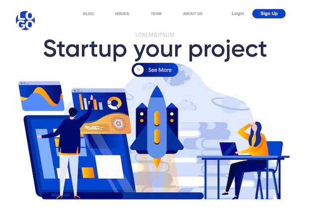 Start uw platte bestemmingspagina voor uw project. team van startende stichters die nieuwe projectillustratie lanceren. innovatieoplossing, samenstelling van webpagina's voor bedrijfsideeën met personages,