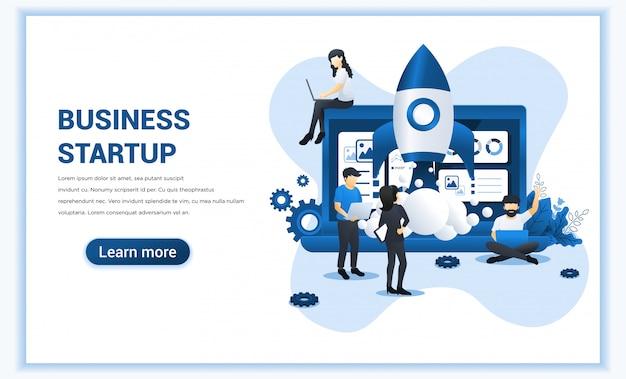 Start uw project met mensen die werken aan raketlancering. ontwikkelingsproces, innovatieproduct, creatief idee.