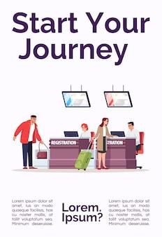 Start uw reispostersjabloon. bagagecontrole voor vertrek. commercieel flyerontwerp met semi-platte afbeelding. vector cartoon promo kaart. reclame-uitnodiging voor luchtvaartdiensten