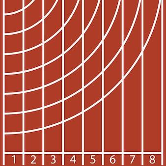 Start van een atletiekbaan met nummer en lijn. vector illustratie.