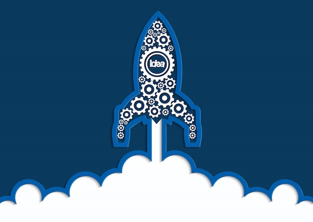 Start van ruimtependeluitrusting naar de hemel