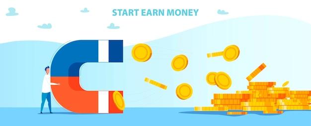 Start verdien geldmotivatie met de mens houdt magneet vast