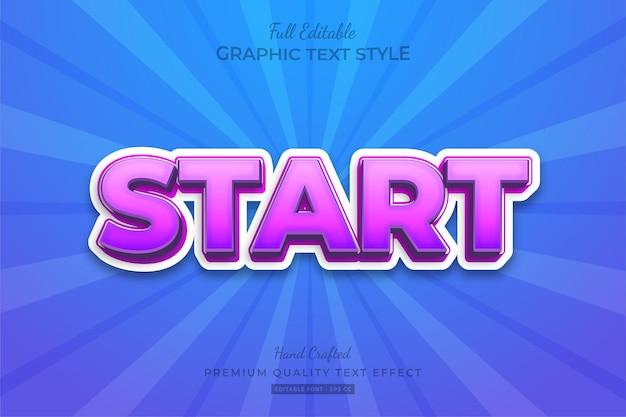 Start vet modern teksteffect bewerkbare premium-lettertypestijl