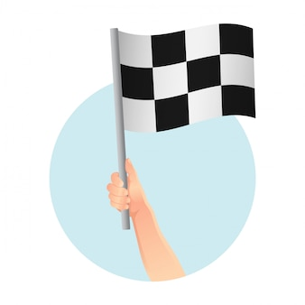 Start vlag in pictogram van een hand