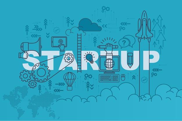 Start website banner concept met dunne lijn platte ontwerp