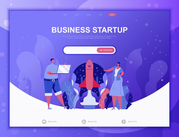 Start your project flat concept, landing page web template