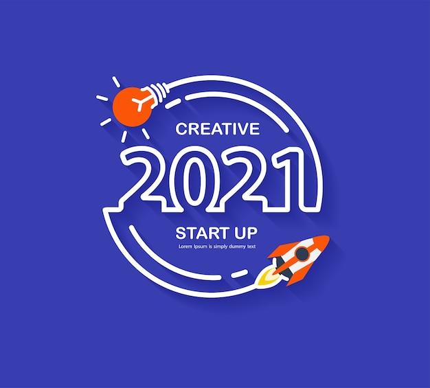 Startbedrijf 2021 nieuwjaarsraketlancering met creatieve gloeilampideeën, vector