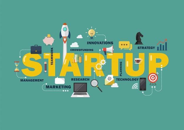 Startconcept met bedrijfselementen