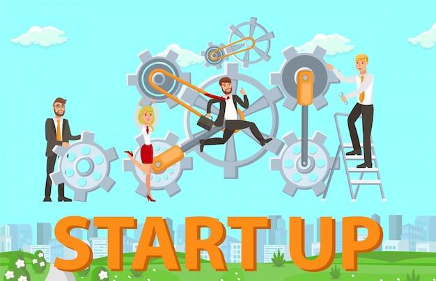 Starten lanceringsprocedure vectorillustratie