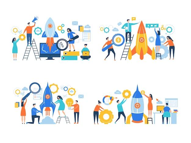 Startende bedrijfskarakters. rocket lanceert succesmensen maken werkvrijheid carrière managers kantoor