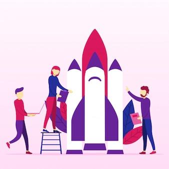 Startidee van business project door planning en strategie