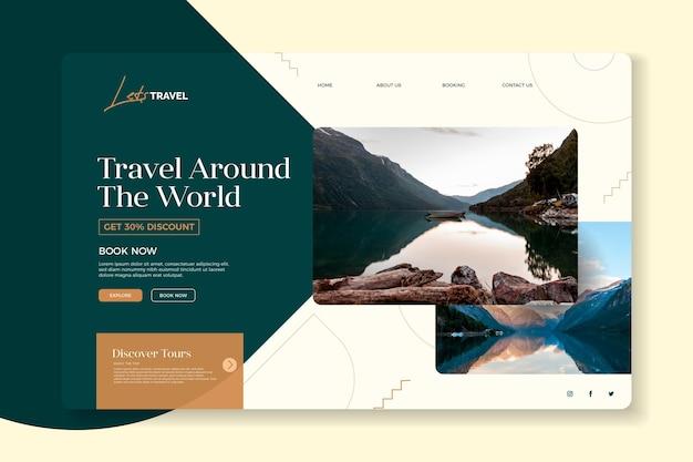 Startpagina voor reisverkoop met foto