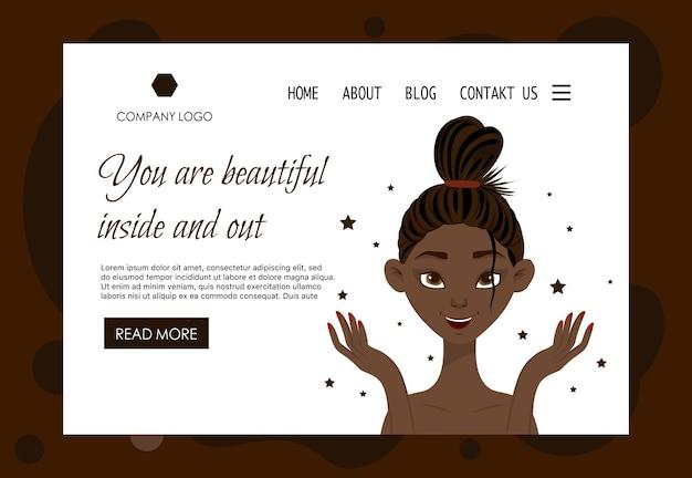 Startpaginasjabloon voor schoonheidssalons, cosmeticawinkels. cartoon-stijl. vector illustratie.