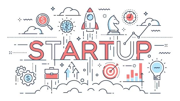 Startup, ideeën en nieuwe business, ontwikkeling, projectlancering thi
