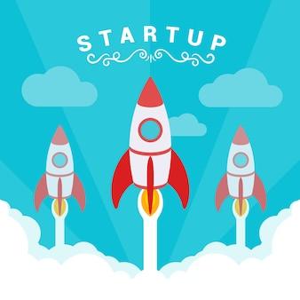 Startup illustratie. de raketten stijgen af tegen de blauwe lucht en witte rookwolken.
