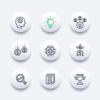 Startup lijn iconen set, creatief proces, idee, startkapitaal, financiering, innovatie, investeren, groei, analyse, zakelijk succes