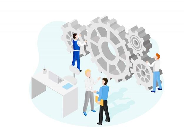 Startup medewerkers. samenwerking constructie per agentuur groep om een team te creëren.