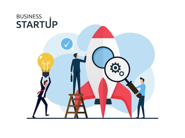 Startup nieuw bedrijfslanceringsconcept, werkgevers die zich voorbereiden op raketruimteschipsymbool