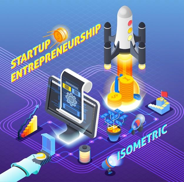 Startup ondernemerschap isometrische samenstelling
