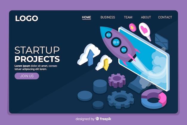 Startup projecten isometrische bestemmingspagina