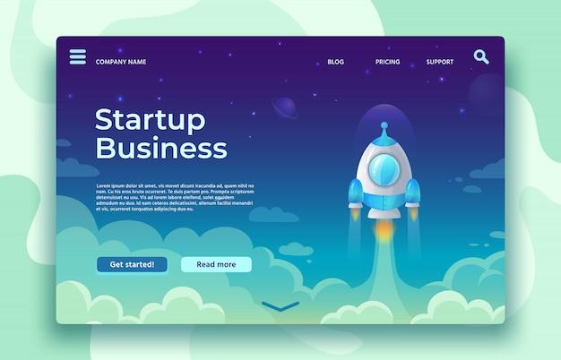 Startup start bestemmingspagina. raketlancering, gemakkelijke start van bedrijven en futuristische ruimtevaartillustratie