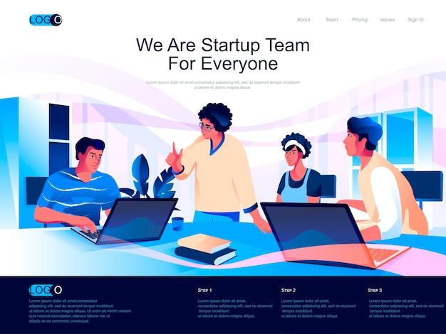 Startup team isometrische bestemmingspagina met vlakke karaktersituatie