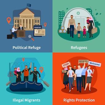 Stateless vluchtelingen concept set van politieke vluchtelingen illegale immigranten rechten bescherming