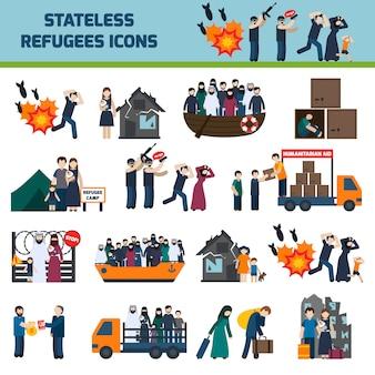 Stateless vluchtelingen tekenset