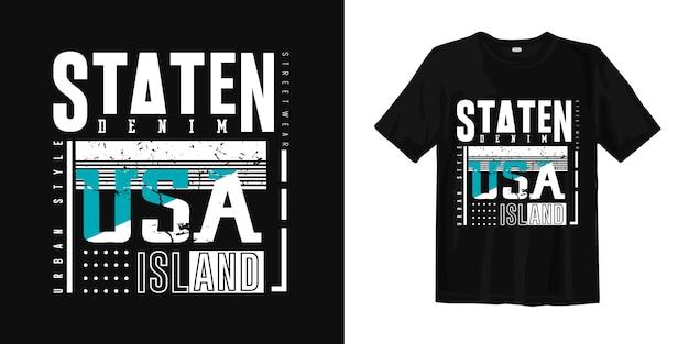 Staten island, vs t-shirt met denim urban-stijl print