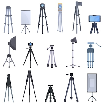 Statief iconen set, cartoon stijl