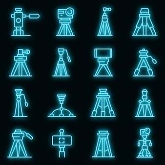 Statief pictogrammen instellen. overzicht set statief vector iconen neon kleur op zwart