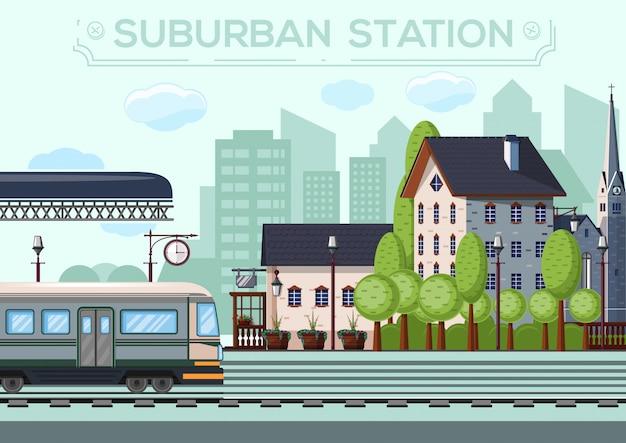 Station in de voorsteden. stadsleven ontwerp.