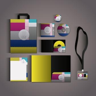 Stationaire sjablonen met textuurkleuren bedrijfskantoorbehoeften