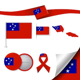 Stationery elementen collectie met de vlag van samoa design