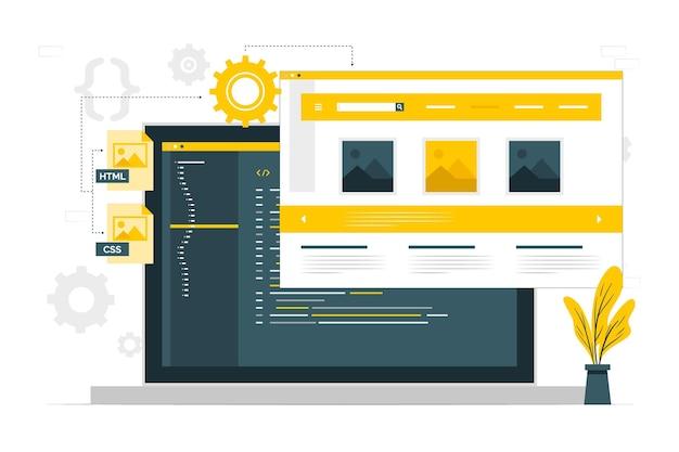 Statische website concept illustratie