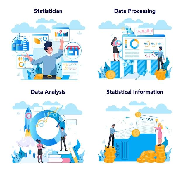 Statisticus en statistiek concept set