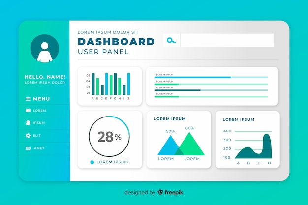 Statistiek set elementen dashboard sjabloon