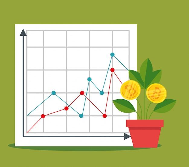 Statistieken diagram en plant met bitcoin valuta