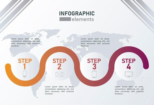 Statistieken infographicsstappen met aardekaarten op grijze achtergrond