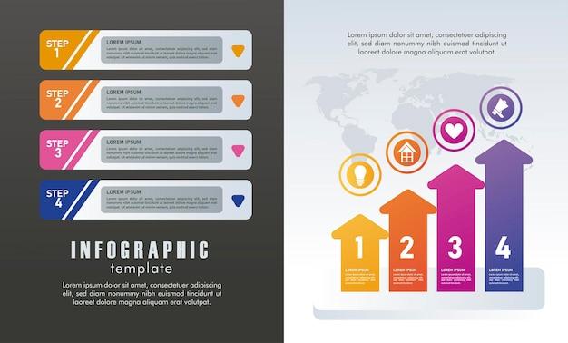 Statistieken infographicsstappen met cijfers en pijlen op grijze en zwarte achtergrond