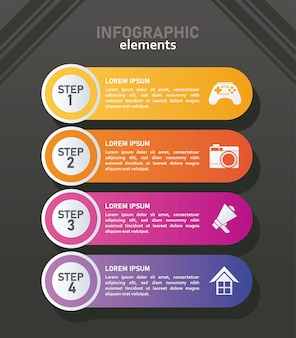Statistieken infographicsstappen met cijfers op zwarte achtergrond