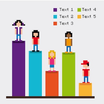 Statistieken staven pixelontwerp